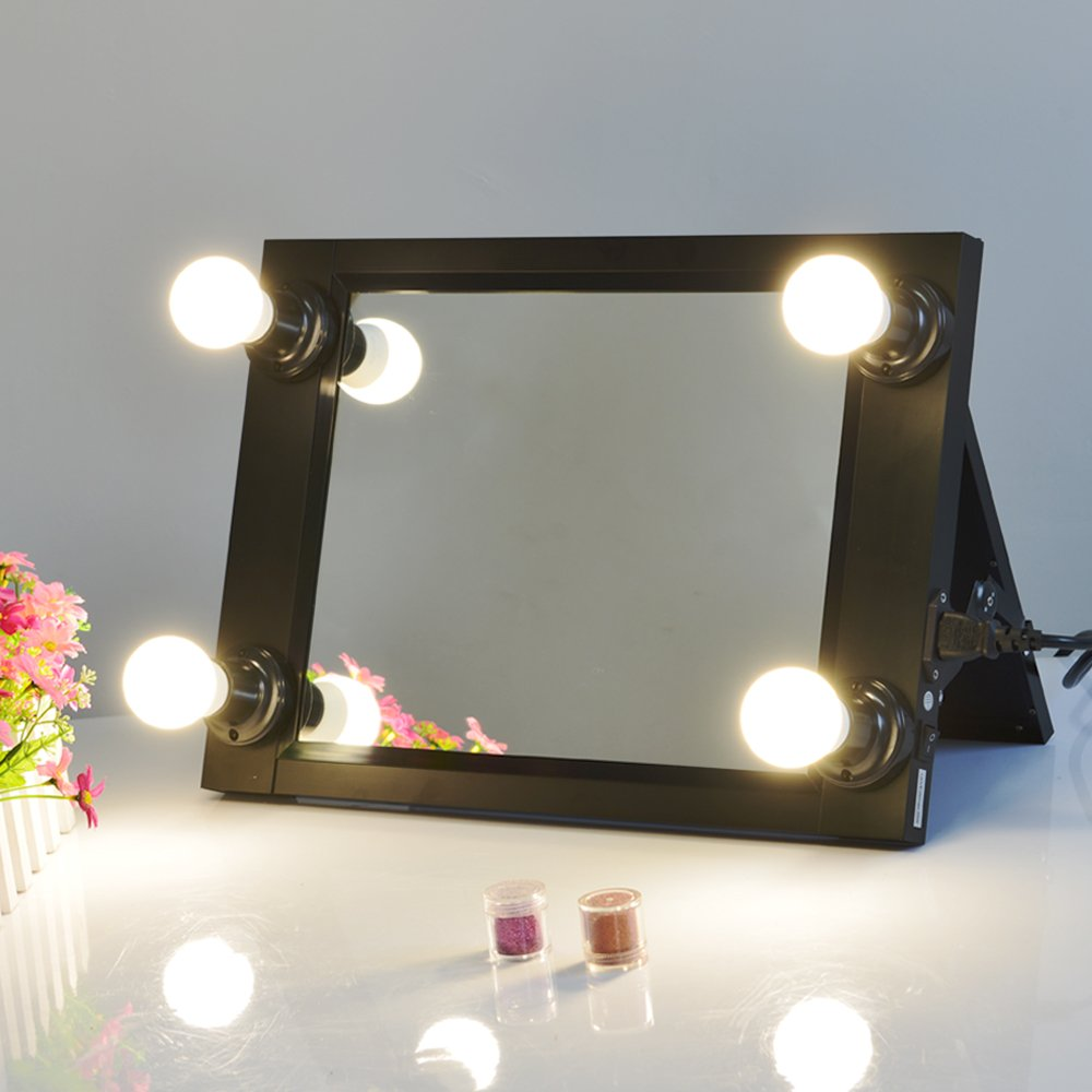 Chende Hollywood Vanity Makeup Mirror, Folding Vanity Mirror with LED Bulbs, Table Set Design for Dresser, Portable Lighted Makeup Mirror, Travel Cosmetic Mirror for Girls, Teen (Black)