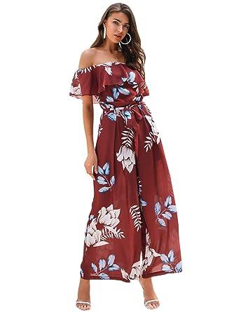 9ec78b1c6aa Miessial Women's Floral Print Elegant Off Shoulder Jumpsuit Rompers Wide  Leg Jumpsuit with Belt Brick Red