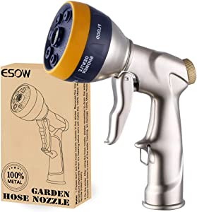 ESOW Garden Hose Nozzle with Multi-Spray Nozzle Area Upgraded, 100% Heavy Duty Metal Spray Gun with Durable ABS-Plastic, 7 Adjustable Patterns Best for Watering Plants, Lawn, Car Washing, Dog & More