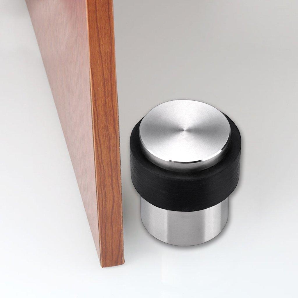 Solid Stainless Steel Door Stopper with Rubber Bumper-Safety Floor Mount Doorstop with Screws Sumnacon Cylindrical Floor Door Stopper Heavy Duty Home Commercial Industrial Floor Door Stopper