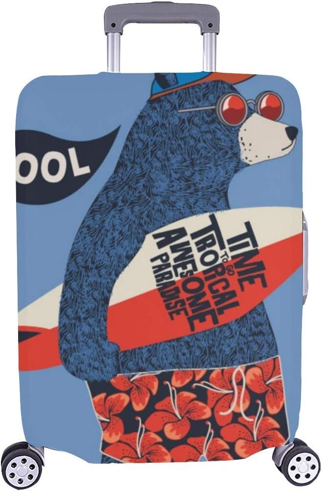 (Solo Cubrir) Lindo Surfista Oso Diseño Vectorial Patrón para niños Maleta con Ruedas Maleta Protectora para Viaje Maleta Cubierta Protectora para 28.5 x 20.5 Pulgadas