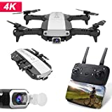 Mini Drone with Camera GPS WiFi 4K 1080P HD FPV Foldable RC Six-axis Gyroscope RTF 4CH 2.4Ghz Remote Control Headless [Altitude Hold] Gravity Sensor Super Easy Fly for Training (Black, 4K)