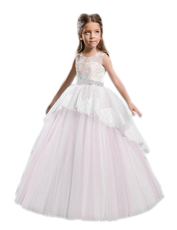 eb06ce9b187 Amazon.com  2018 A-line Pale Blue Flower Girl Dresses Round Neck Sleeveless  Floor Length Girls Dress For Weddings  Clothing