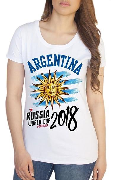Irony Camiseta de Mujeres Copa Mundial de Fútbol de Argentina Rusia 2018 Imprimir TS1431: Amazon.es: Ropa y accesorios