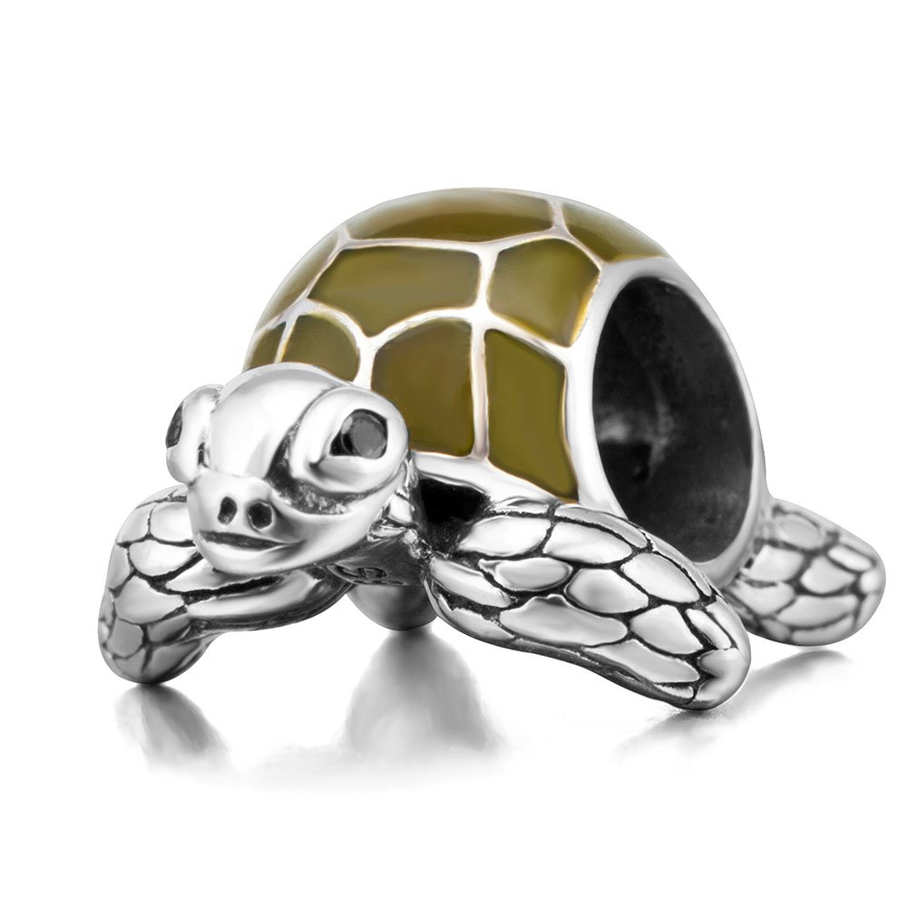 Sea Turtle Animal Charms 925 Sterling Silver Tortoise Pet Charms Bead for European Bracelet (Green Enamel)