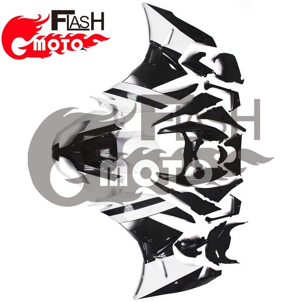 FlashMoto kawasaki 川崎 カワサキ ZX6R Ninja 636 2009 2010 2011 2012用フェアリング 塗装済 オートバイ用射出成型ABS樹脂ボディワークのフェアリングキットセット (ブラック,ホワイト)   B07L8B2V5B