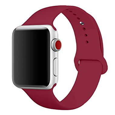 Sport Band for Apple Watch 38mm, Aimote Soft Silicone Replacement Strap for Apple Watch Series 3, Series 2, Series 1,Sport Edition, M/L Size,38mm Rose Red (Wine Red)