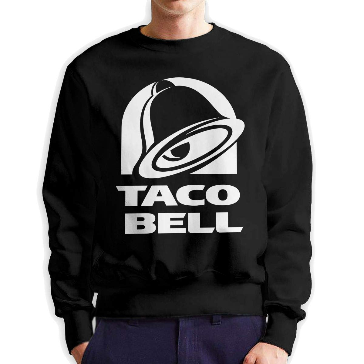 Kaddias Mens Art Bell with Taco Comfortable Crew Neck Fleeces Sweatshirt Black