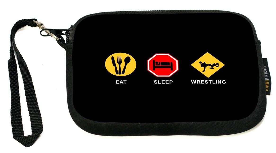 Rikki Knight Eat Sleep Wrestling - Neoprene Clutch Wristlet Coin Purse with Safety Closure