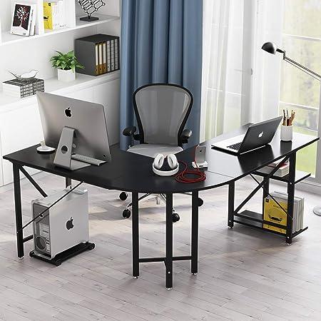 LITTLE TREE Large L-Shaped Desk, 67 Modern Corner Computer Desk Gaming Table with Shelves, PC Laptop Workstation Desk for Home Office, Black
