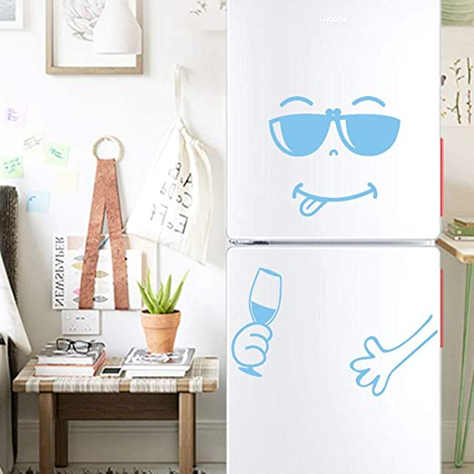 Fridge Cute Decal DIY Home Decor Wall Decorations Happy Delicious Face Fridge Decal Dining Stickers