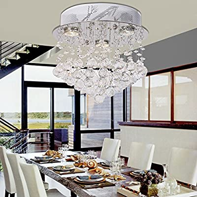 OOFAY LIGHT Contemporary Modern Crystal Chandelier Hanging Wire Three Lights Modern Crystal Chandelier Lamp For Restaurant Dining Room Study Room Living Room Library
