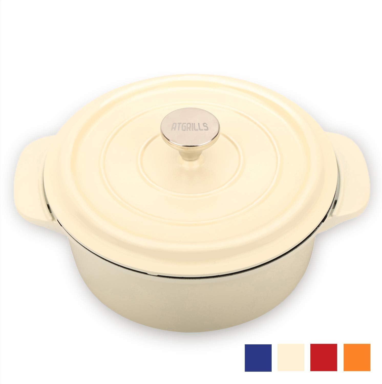 2 QT Cast Aluminum Dutch Oven/Pot with Non-stick Coating, Red/Orange/White/Blue Cookware(HP200-White, 2qt)
