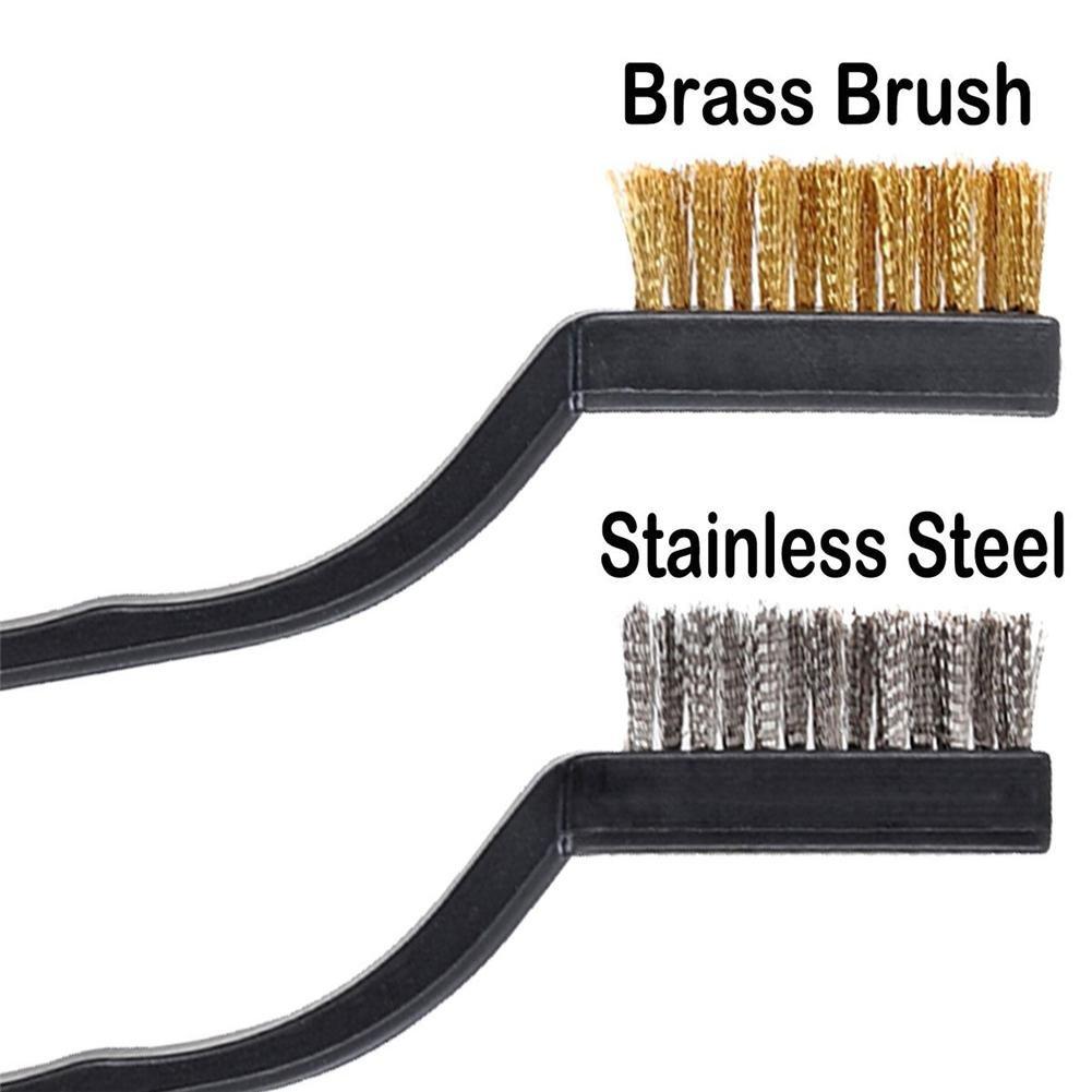 Futureshine 12pcs Mini Rust Wire Brush Cleaning Brush Durable Stainless Steel Industrial Wire Brush