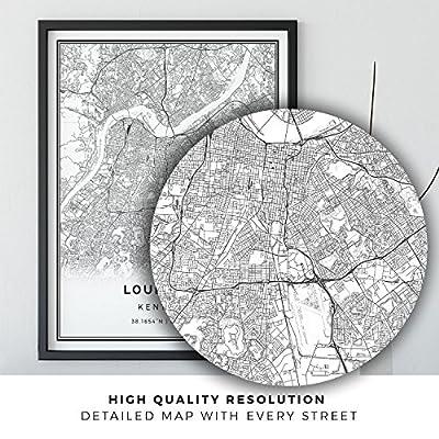 Louisville map poster print | Modern black and white wall art | Scandinavian home decor | Kentucky City prints artwork | Fine art posters