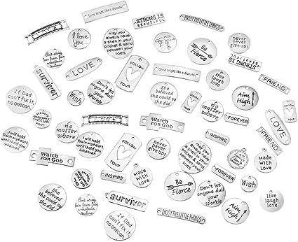 Cotización de 4 encantos encantos de plata Antiqued había palabra palabra encantos puedo inspirador