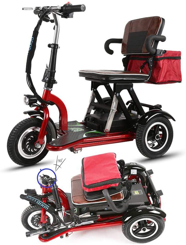 Jkls Triciclo Eléctrico, Plegable Portátil De 3 Ruedas Scooter con Cesta De Mini Silla De Ruedas Eléctrica De 3 Velocidades Coche Eléctrico De Velocidad Ajustable