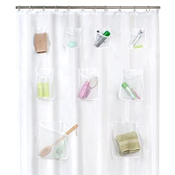 Maytex Mesh Pockets PEVA Shower Curtain Liner Organizer Clear 70quot