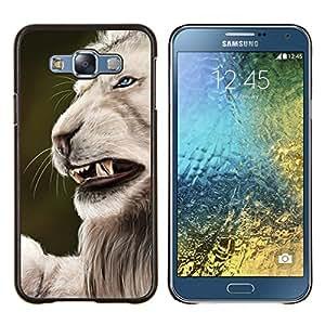 KLONGSHOP // Cubierta de piel con cierre a presión Shell trasero duro de goma Protección Caso - Rugido enojado del gato grande león Naturaleza Blanca - Samsung Galaxy E7 E700 //