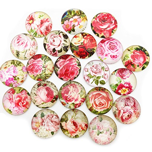 - 20pcs 25mm Round Flat Back Pink Rose Flower Glass Dome Cabochon Settings Handmade Image Photo Glass Cabochons for Jewelry and Pendant Making (Pink Flower)