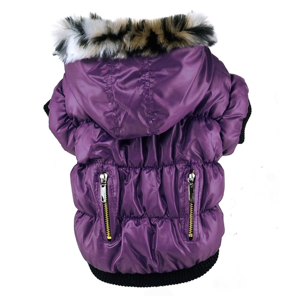 Purple S(Tag M) Purple S(Tag M) Soly Tech Winter Pet Cat Dog Soft Padded Coat Hooded Jacket Small Dog Clothes XS-XXL