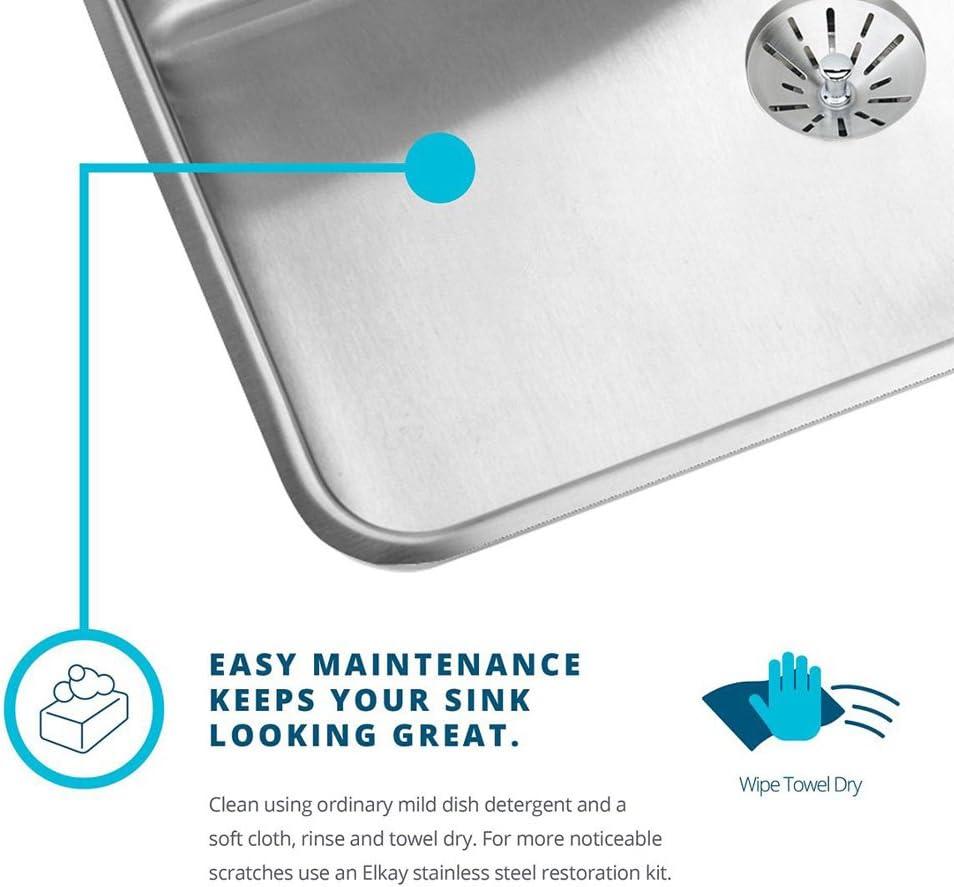 Elkay Lustertone ELUHAD311850 Equal Double Bowl Undermount Stainless Steel ADA Sink