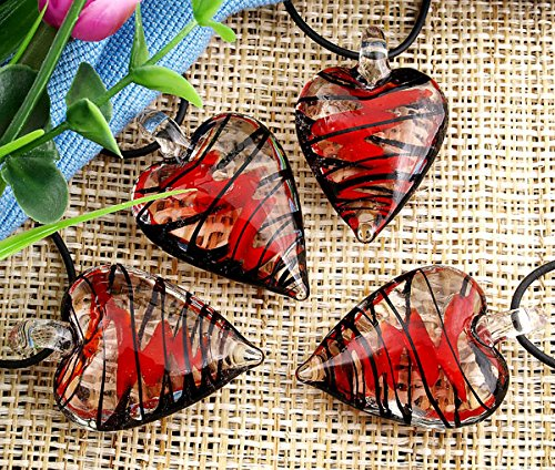 Skyllc Set of 6 Pieces Heart Shape Glass Bicolors Murano Lampwork Necklace Pendant Size 4230mm