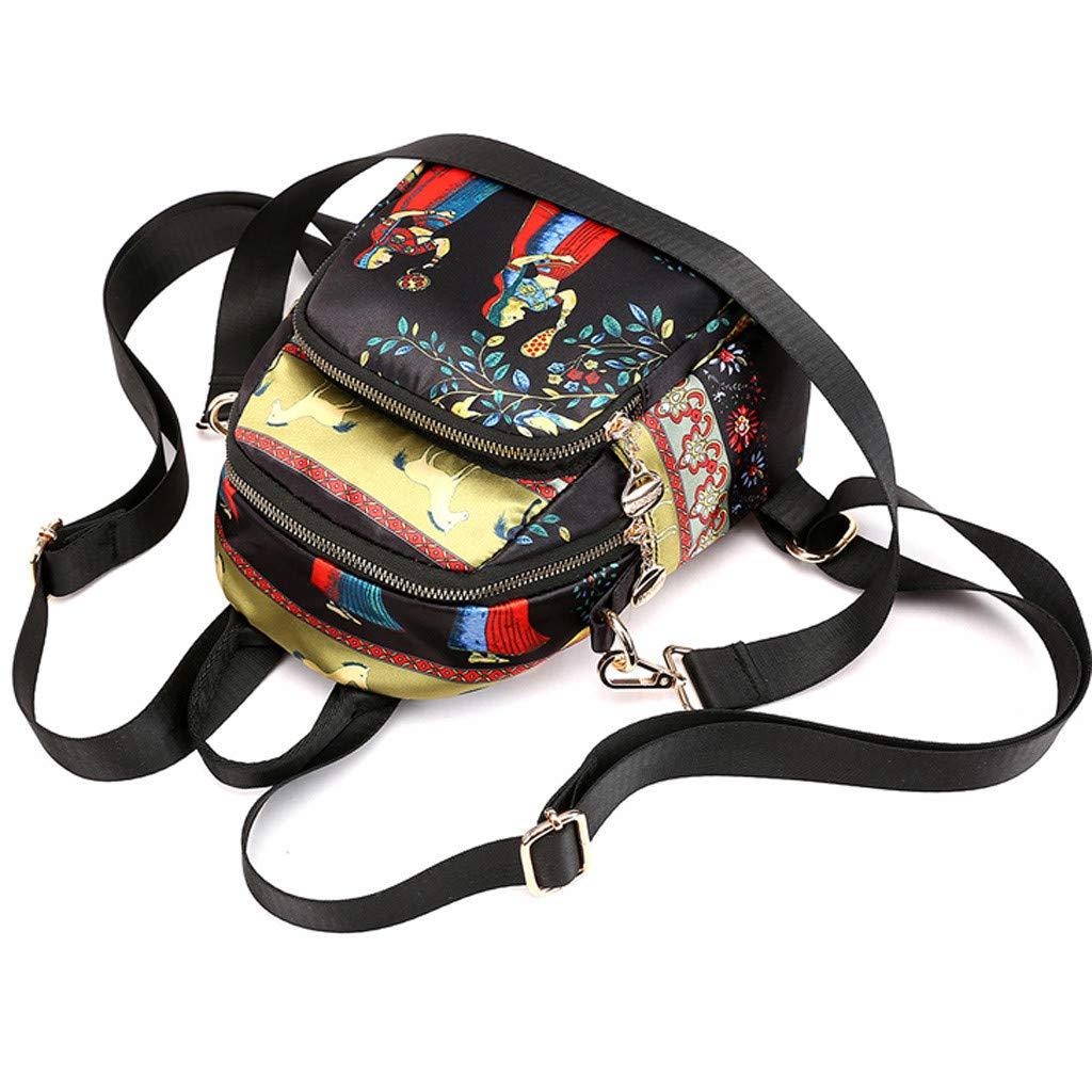 Backpack For Women Printed Ethnic Nylon Fabric Bag Waterproof Shoulders