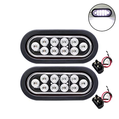 Tmh Pack Of 2 6 10 Led Oval Flush Mount White Reverse Back Up Turn Signal Marker Tail Led Light For Truck Trailer Rv Bus 12v Rubber Grommet