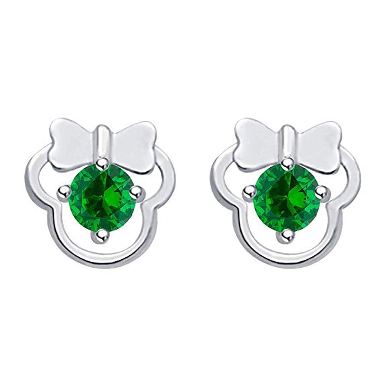 Disney Mickey Earrings 14K White Gold Plated Round Green CZ Screwback Earrings Jewellery