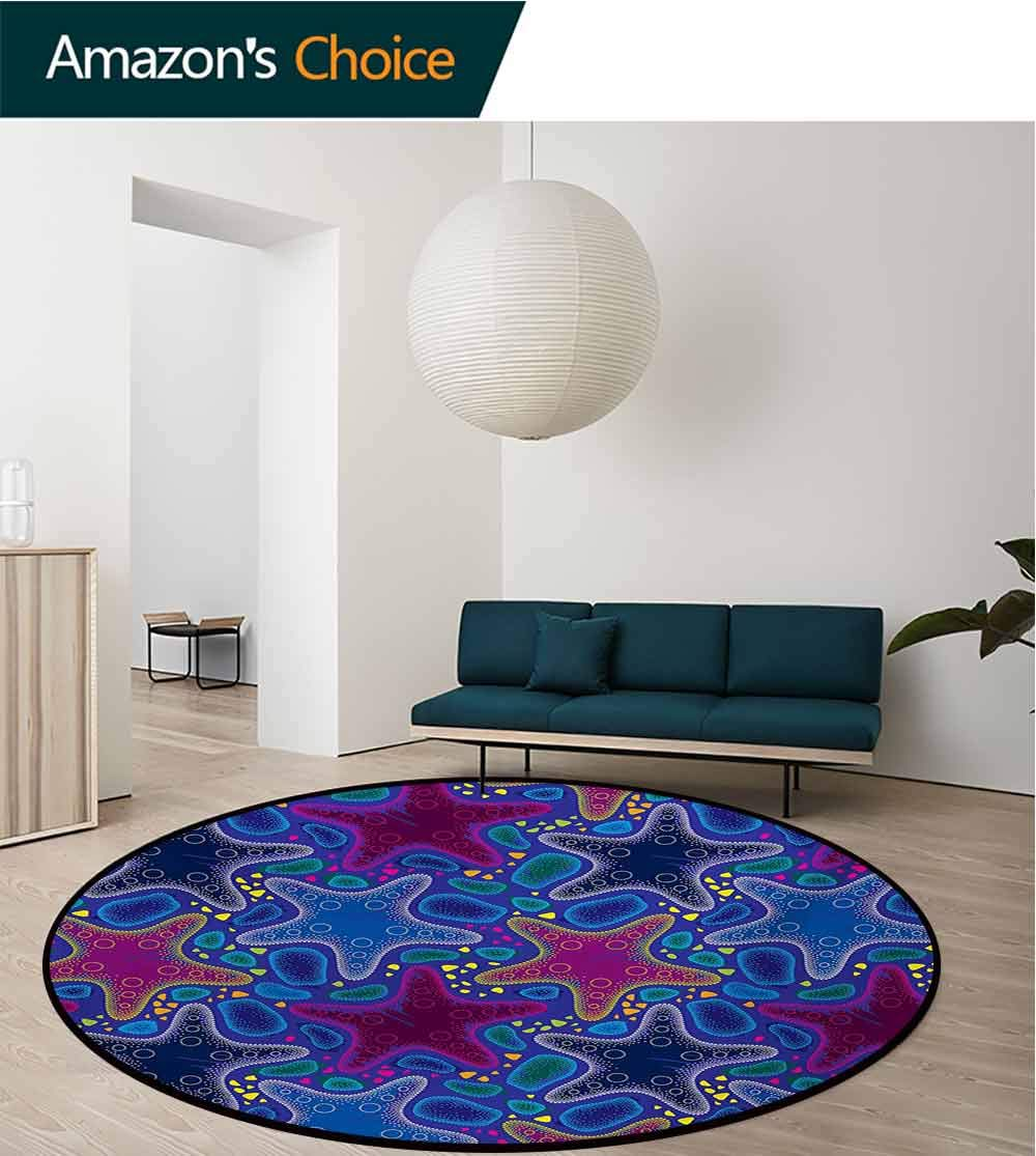 RUGSMAT Psychedelic Non-Slip Area Rug Pad Round,Dotted Starfish and Pebbles Maritime Theme Aquatic Animal Pattern Print Protect Floors While Securing Rug Making Vacuuming,Round-31 Inch by RUGSMAT (Image #3)
