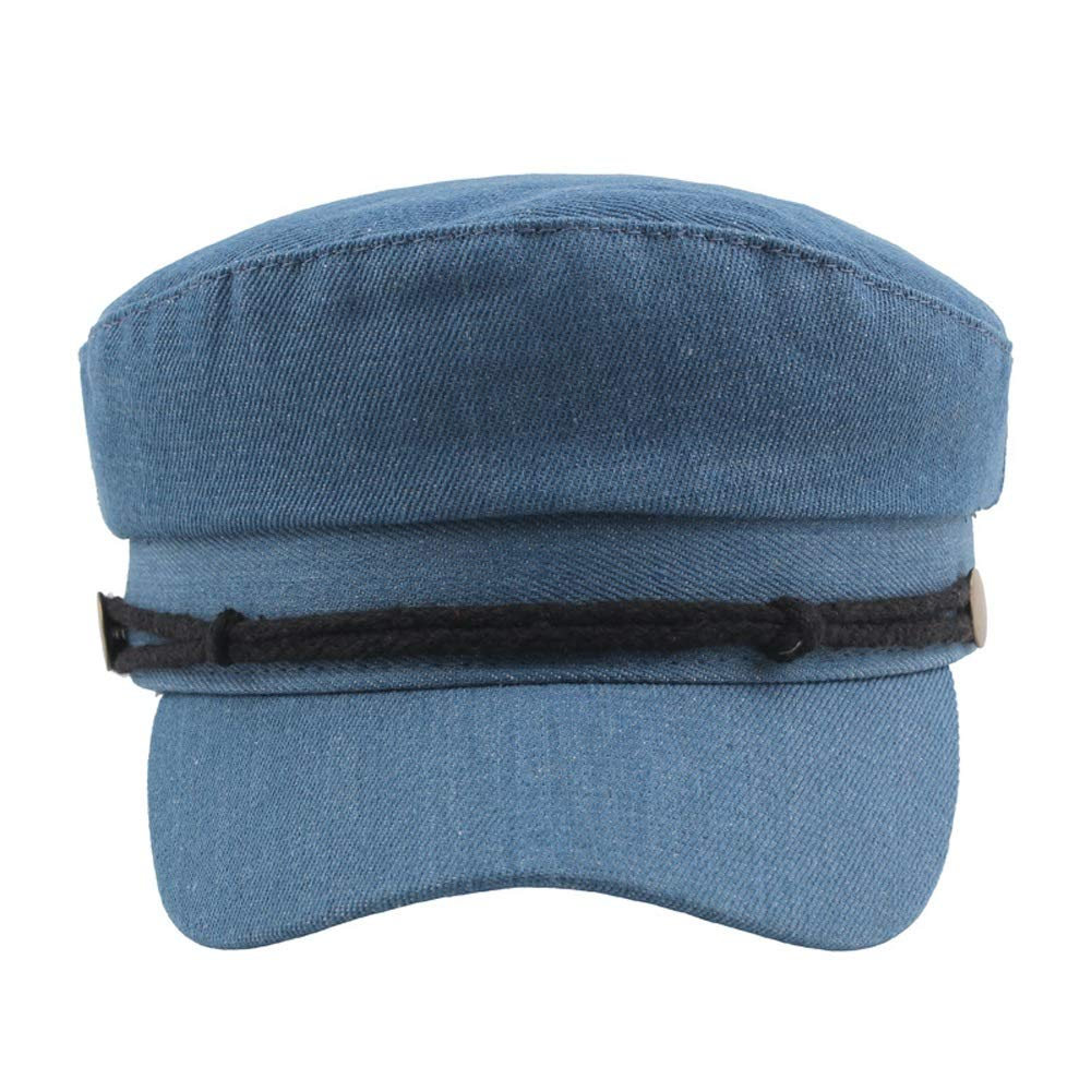 Mamrar Beret Cap Autumn Winter Denim Cap Retro Copper Buckle Flat Top Cap Casual Navy Hat