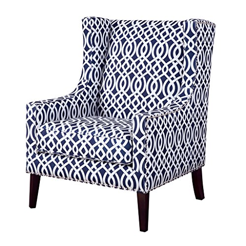 Contemporary Wingback Upholstered Navy Blue and Off White Lattice print Accent Chair with Nailhead Trim - Includes ModHaus Living Pen