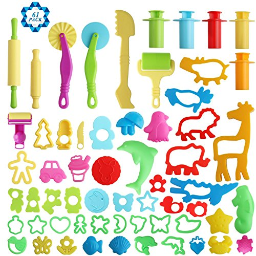SOTOGO 61 Pieces Clay Dough Tools Kit with Molds and Extruder -