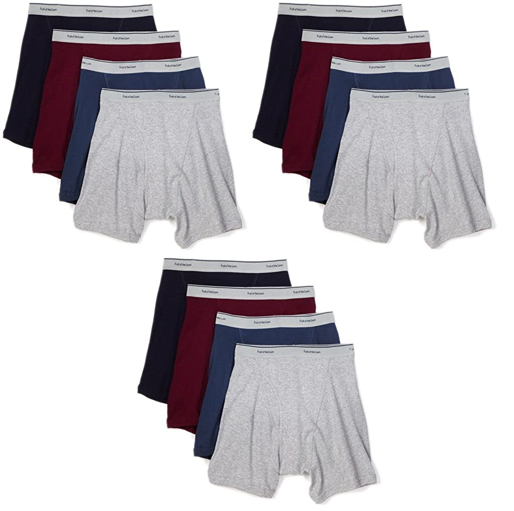 Fruit of the Loom 12-Pack Boys Assorted Boxer Briefs Underwear Fashion Waistband
