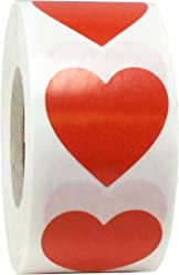 Red Heart Stickers For Valentine's Day Crafting Scrapbooking 1 Inch 500 Adhesive Stickers