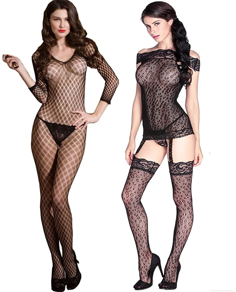 jooniyaa 2 Pack Women Sheer Fishnet Bodystocking Crotchless Bodysuit Catsuit Lingerie 201990536