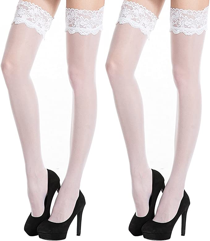 """Ladies Luxury Deep Lace Top Holdup Stocking 3 1//2/""""  Lace Top Black One Size"""