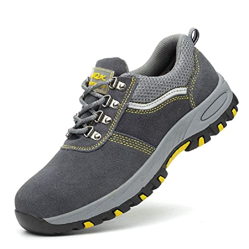 Aizeroth-UK Unisex Hombre Mujer Zapatillas de Seguridad con Punta de Acero Antideslizante Transpirable S3 Zapatos de Trabajo Calzado de Trabajo Deportivos ...
