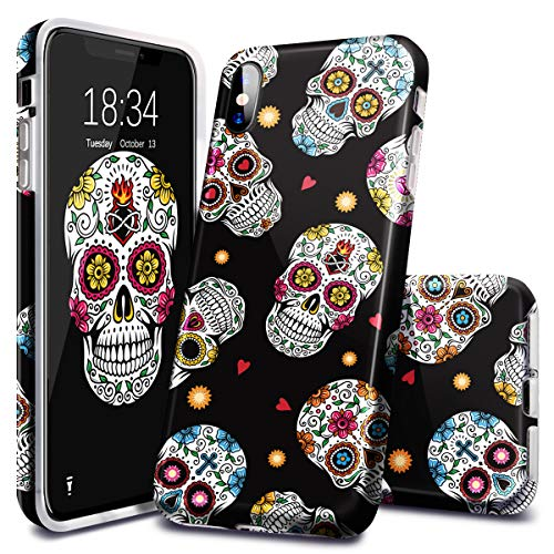 Fingic iPhone Xs Max Case, Halloween Skull Pattern Design Soft TPU Anti-Scratches Shockproof Bumper Cover Protective Case for Apple iPhone Xs Max 6.5 inch, -
