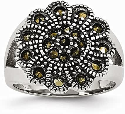 Chisel Stainless Steel Textured Flower Simulated Marcasite Ring