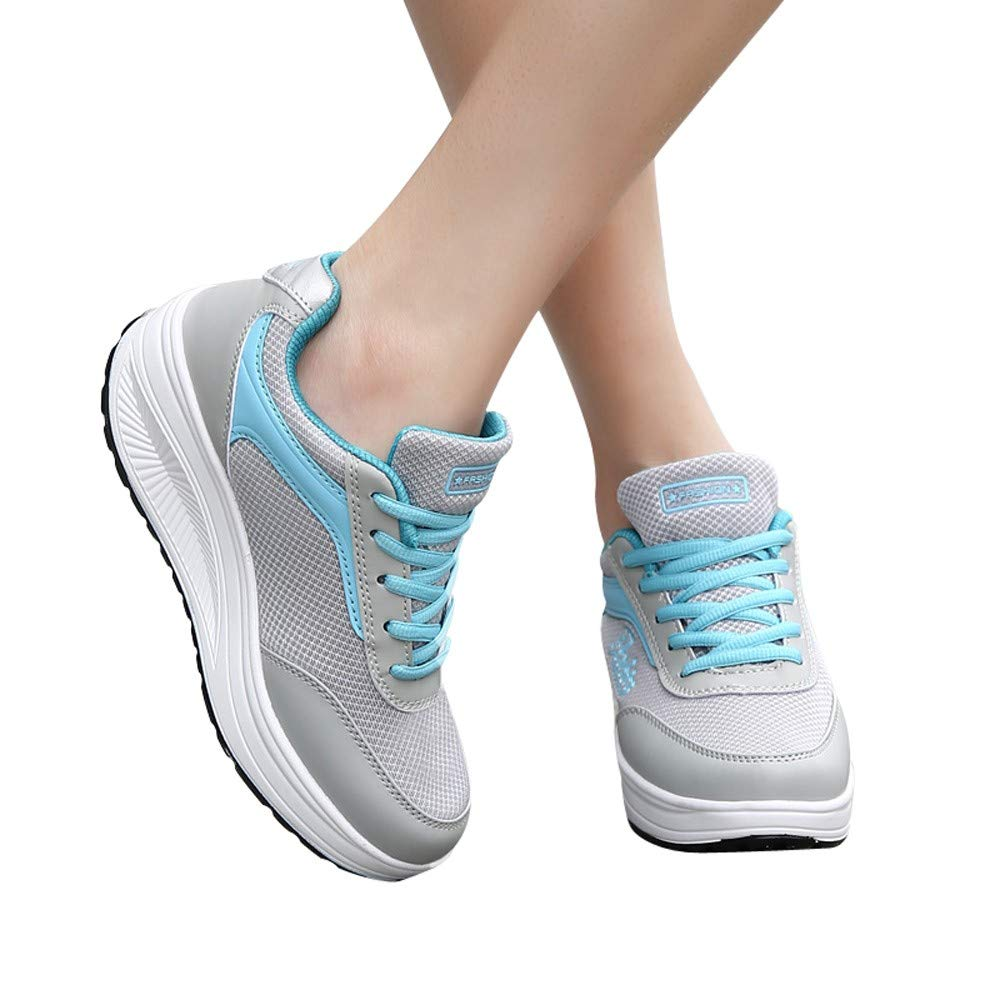 88ff3c42a56c7 Bluestercool Sneakers Fashion Femmes Chaussures Hautes Casual Engrener  Respirant Chaussures de Sport Été Slip-on Confortable Chaussure ...