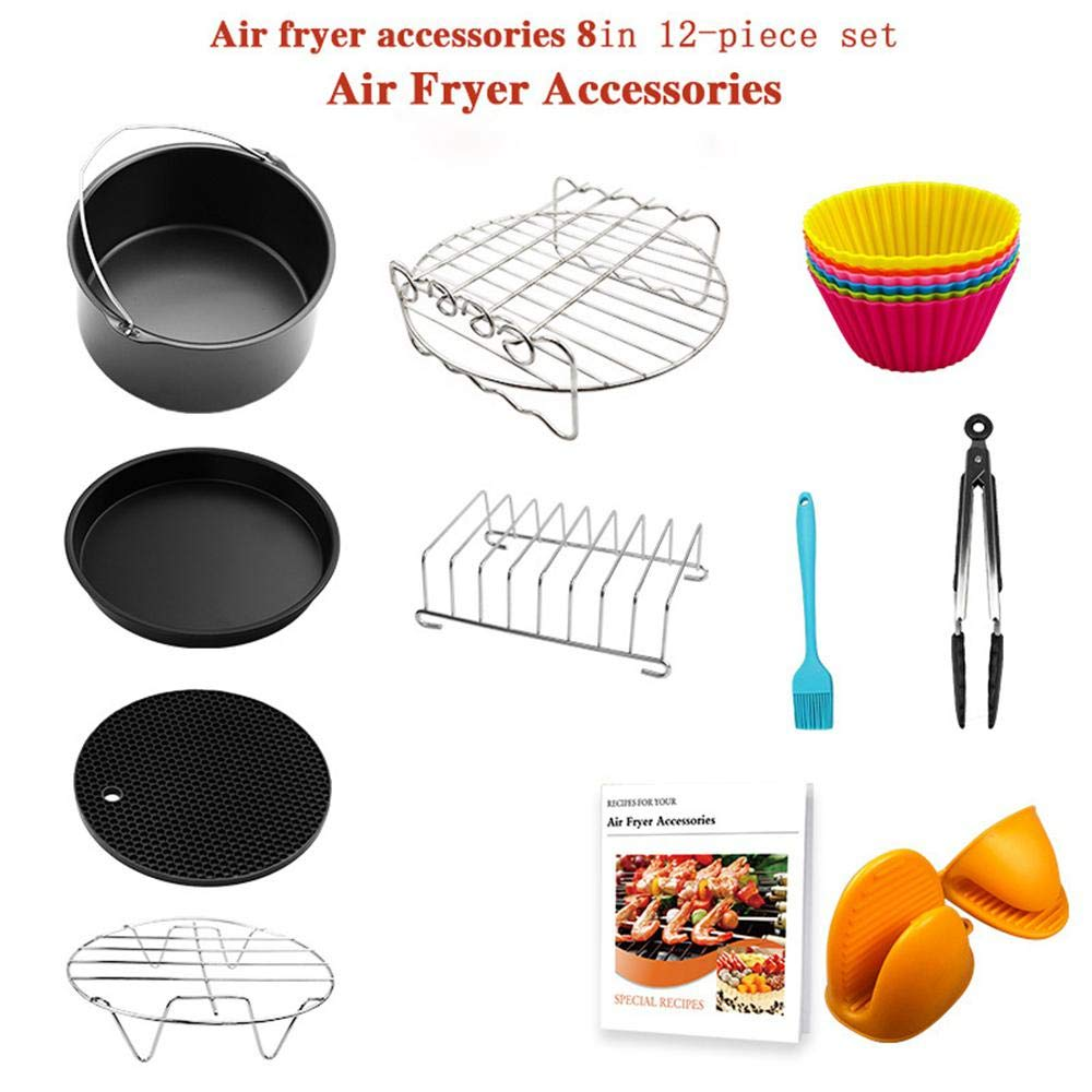"""AUOKER Air Fryer Accessories Set, 12 Pcs with Recipe, Non -Stick Cooker BPA Free, Fit All 3.7, 4.2, 5.3, 5.8QT Air Fryer Accessory, for Gowise, Phillips, Cozyna, Nuwave and More Brand - 7"""""""