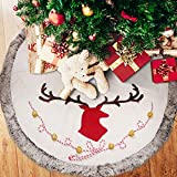 Supker Christmas Tree Skirt Large 48 inch Plush Edge Border Round Xmas Tree Skirt Reindeer Pattern Carpet Apron for Christmas Home Holiday Party Decoration