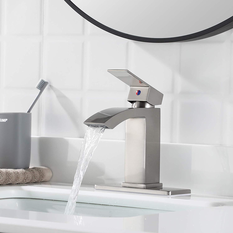 Pop Up Drain Stopper Water Supply Lines Lavatory Vanity Faucet With Escutcheon 14166 Ezanda Brass Single Handle Bathroom Sink Faucet Brushed Nickel Restroom Fixtures Bathroom Sink Faucets Parts