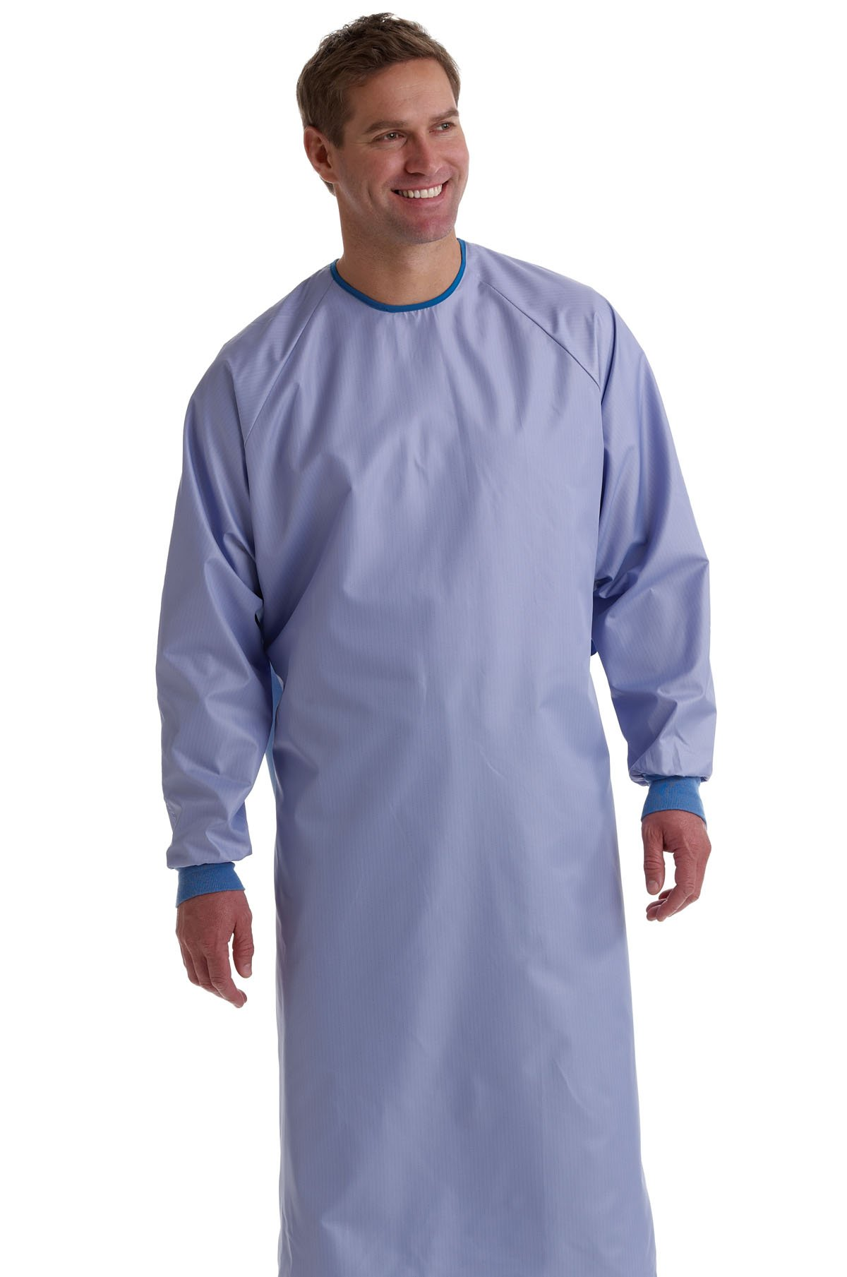 Medline MDT012090L 1-Ply Blockade AngelStat Surgical Gown, Tie Neck and Back Closure, Non Sterile, Large, Ceil Blue (Pack of 12)