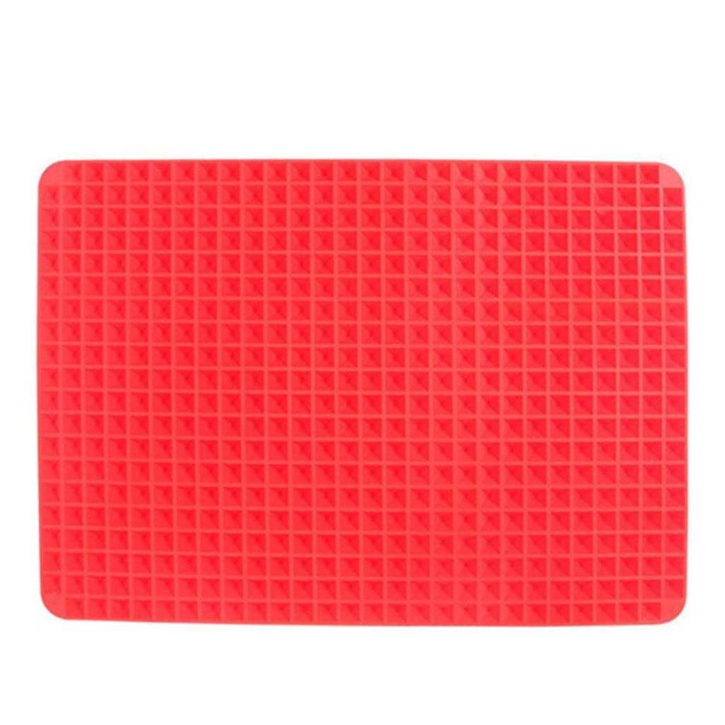 Hmlai Grill Pad,Oven Baking Tray Sheets Pyramid Pan Non Stick Fat Reducing Silicone Cooking Mat Food-Grade Silicone (Size:41x28.5cm)