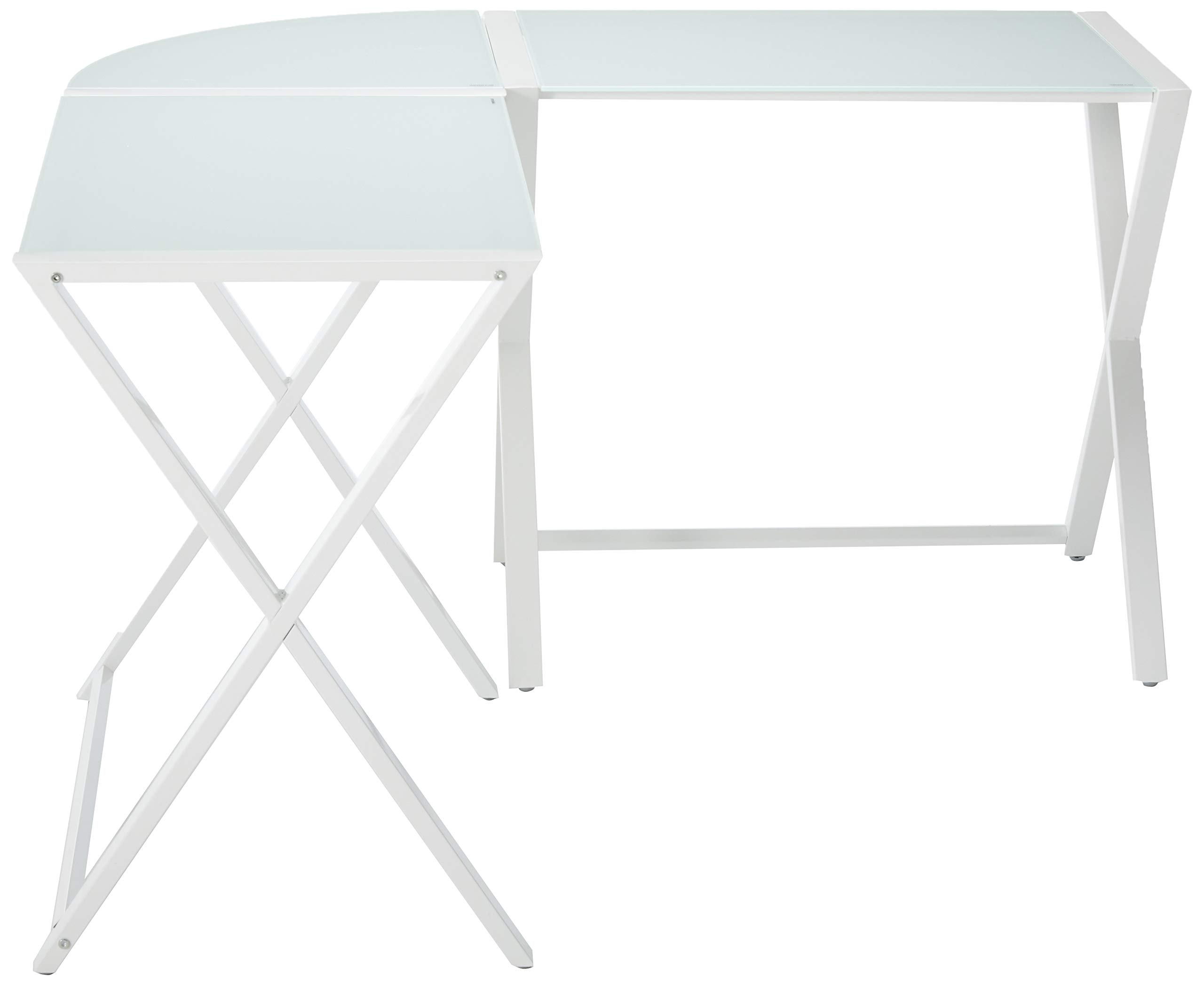 """Walker Edison Modern Corner L Shaped Glass Computer Writing Gaming Gamer Command Center Workstation Desk Home Office, 51 Inch, White - Dimensions: 29"""" H x 51"""" L x 20"""" W Accommodates multiple monitors Sleek tempered glass and metal design - writing-desks, living-room-furniture, living-room - 615A6RufTFL -"""