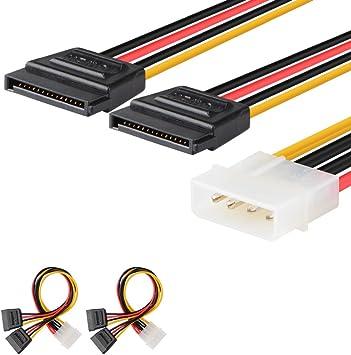 "Sata to 2 Molex Power Cable Splitter Adapter Extension 8/"" 20cm"