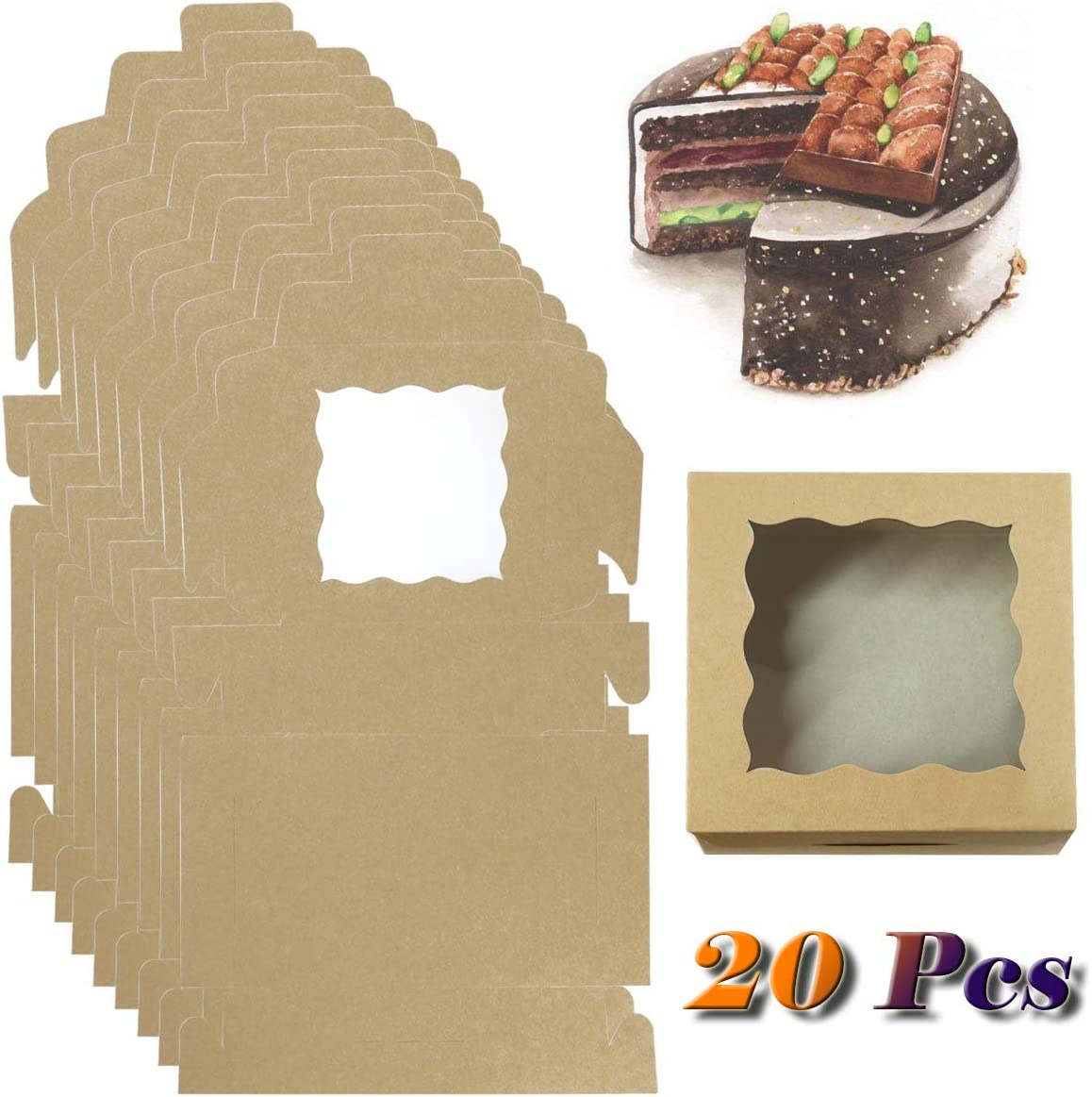 Dessert Disposable Take-Out Container Cookies Boxes Donut Pie Slice Fyess 20Pack Kraft Paper Bakery Boxes with pvc Window,Clear Display Window 6x6x2.5inch Mini Cake